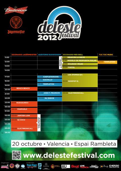 Ya se conocen los horarios del Deleste festival 2012