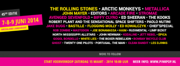 Pinkpop 2014 closes his line-up with The Rolling Stones or Arctic Monkeys