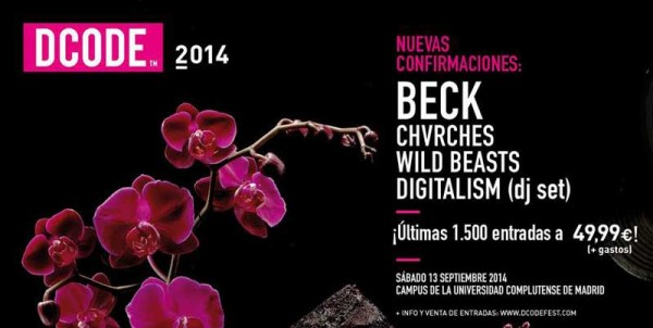 Beck, announced for DCode 2014 with Chvrches, Wild Beasts and Digitalism