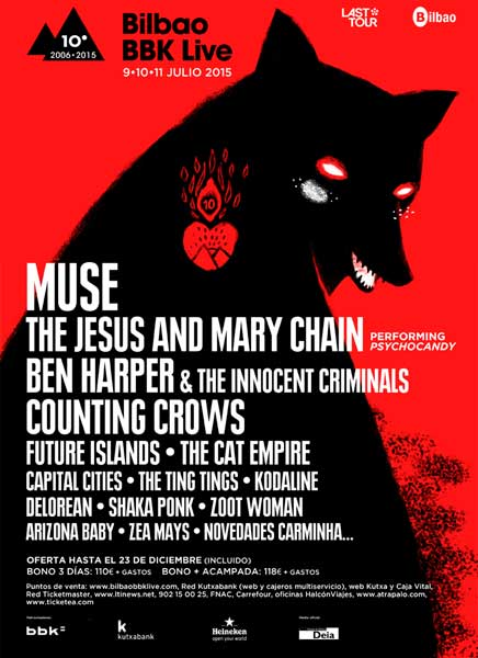 The Jesus & Mary Chain, Ben Harper y Future Islands , entre las nuevas confirmaciones del Bilbao BBK Live 2015