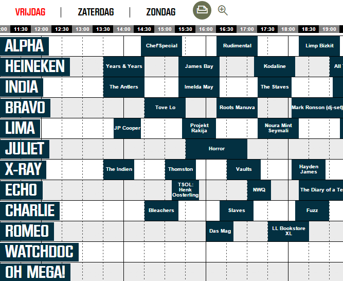 Published timetable for Lowlands 2015