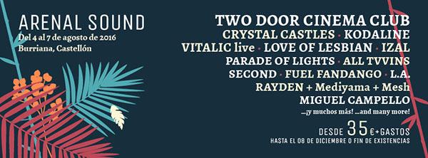 Crystal Castles e Izal, al Arenal Sound 2016