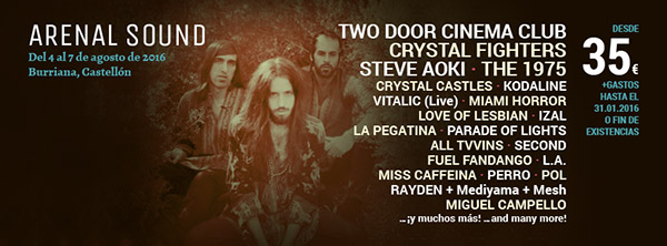 Arenal Sound 2016 - Crystal Fighters Steve Aoki