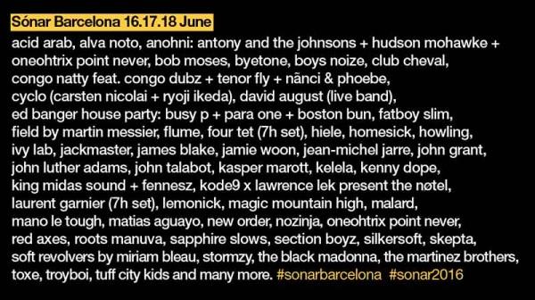 Nuevos nombres para el Sonar 2016
