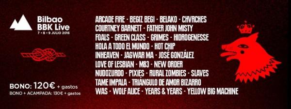 Tanda de bandas nacionales para el Bilbao BBK Live 2016