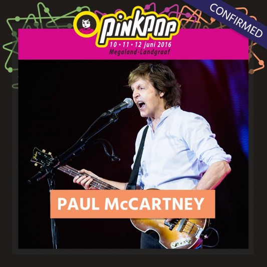 Paul McCartney confirmado para Pinkpop 2016
