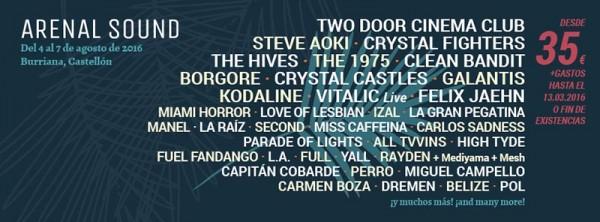 Tres nombres mas para el Arenal Sound 2016