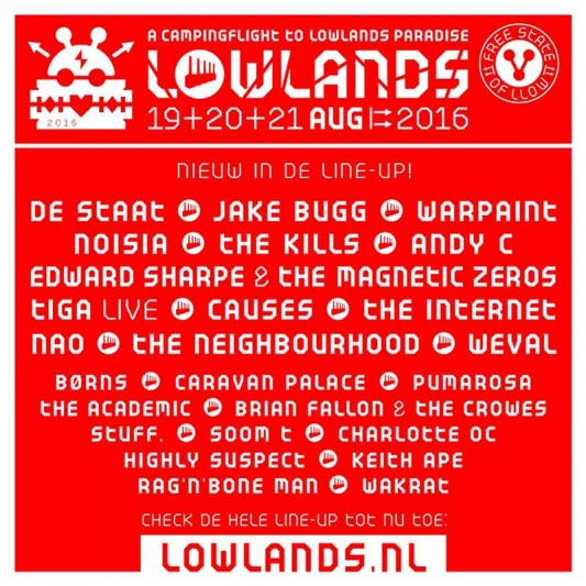 Jake Bugg or The Kills, to Lowlands 2016