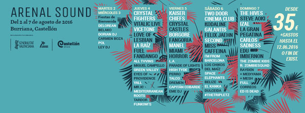 Arenal Sound 2016 announced daily line-up