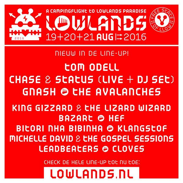 12 new bands announced for Lowlands 2016