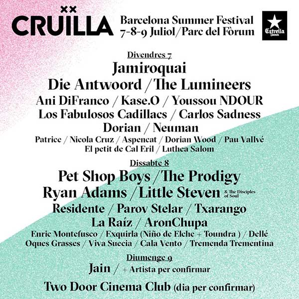 Spanish Festival Cruïlla 2017 announces Lineup by Day