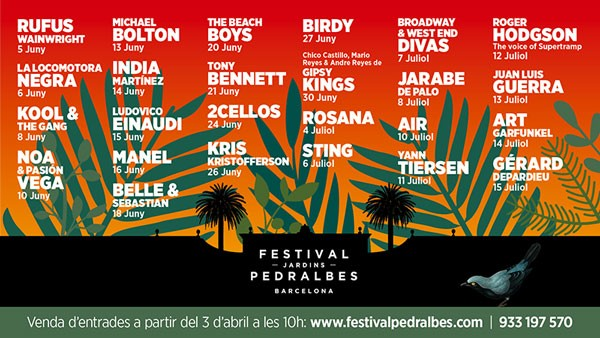 Awesome Line-up for Catalan Festival Jardins Pedralbes 2017
