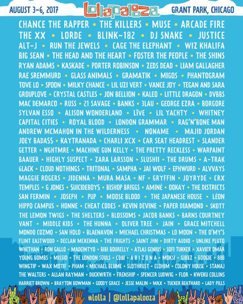 Lollapalooza 2017 anuncia su cartel