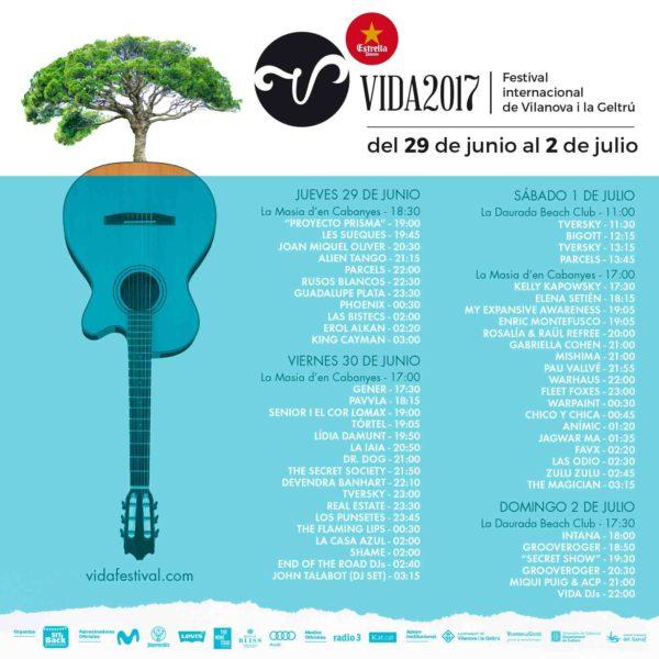 Horarios para el Vida Festival 2017