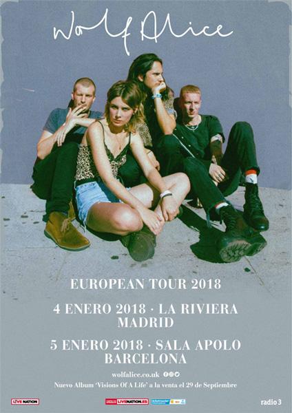 Wolf Alice girarán por España en enero de 2018