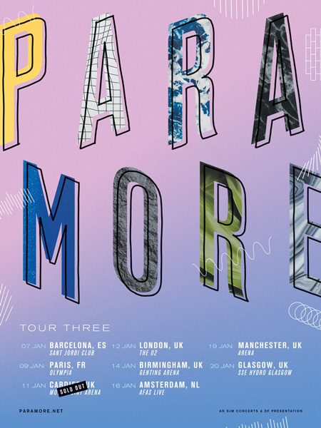 Amsterdam, Paris and Barcelona, new dates for Paramore's Tour Three