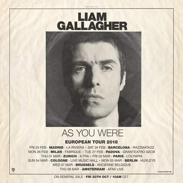 Liam Gallagher announce European Tour 2018