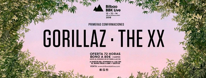 Gorillaz and The xx, headliners of Basque Festival Bilbao BBK Live 2018