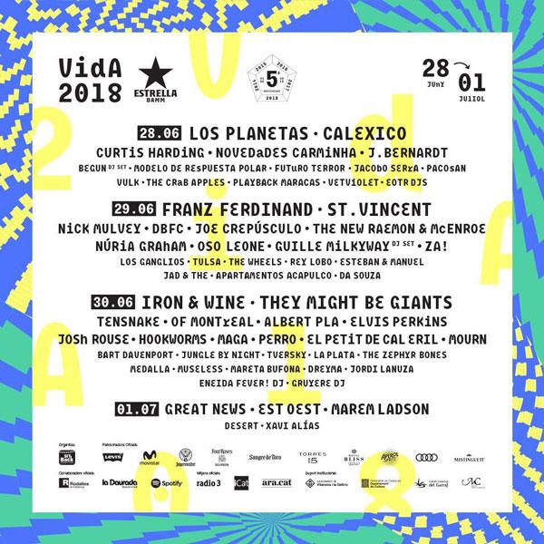 Desvelado el cartel completo del Vida Festival 2018
