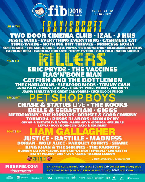 FIB 2018 line up by days