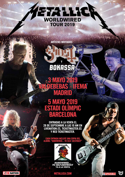 Metallica anuncia conciertos en Barcelona y Madrid en 2019