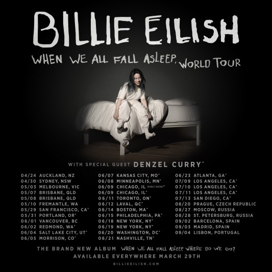 "Billie Eilish has revealed ""When We All Fall Asleep"" Europe tour 2019"