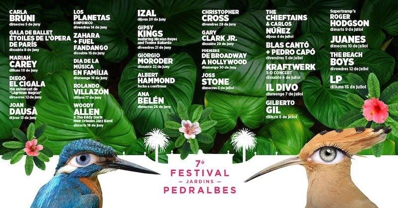 Cartel completo para el Festival Jardins de Pedralbes 2019