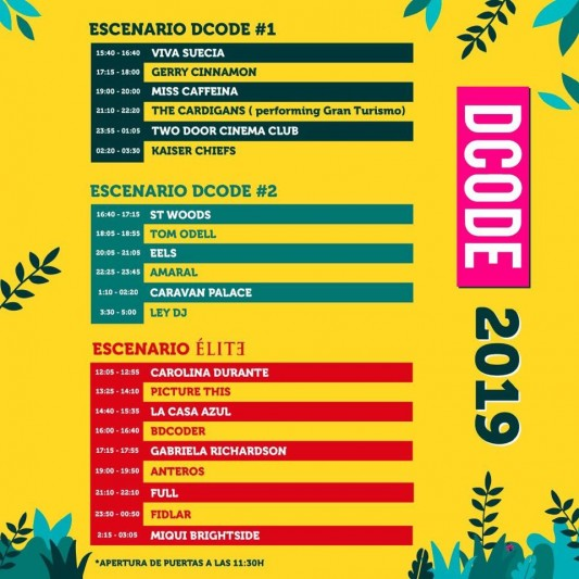 DCODE 2019 horarios