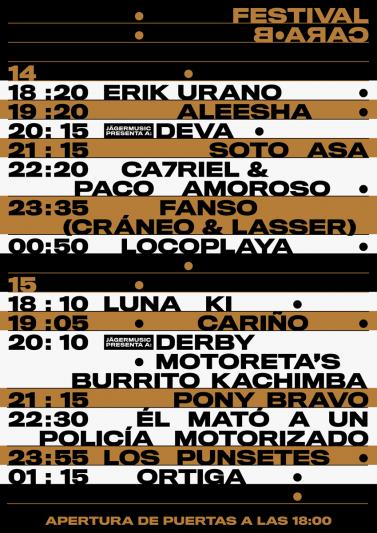 Festival Cara·B 2020 horarios
